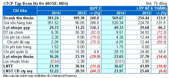 HDG: Có thêm doanh thu từ bất động sản, lãi ròng quý 2 vẫn sụt giảm