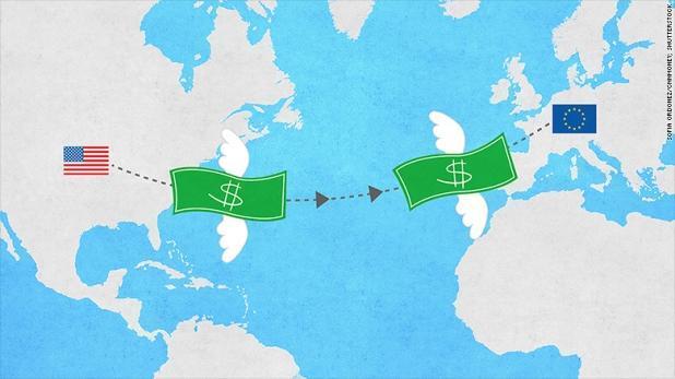 Vì sao tiền mặt Mỹ ồ ạt chảy vào chứng khoán châu Âu?