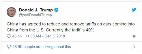 tweet donald trump 3 12 - Donald Trump: Trung Quốc Đã Đồng Ý Giảm Thuế Đối Với Xe Hơi Mỹ