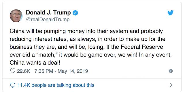 tweet donald trump 1 - Ông Trump: Nếu Fed Giảm Lãi Suất, Mỹ Sẽ Chiến Thắng Trong Cuộc Chiến Thương Mại