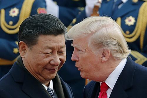 Chủ tịch Trung Quốc Tập Cận Bình gặp Tổng thống Mỹ Donald Trump vào ngày 9/11/2017. Ảnh: AP