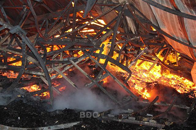 Bình Định: Cháy lớn tại xí nghiệp gỗ rộng hơn 28.000m2, lô hàng chuẩn bị xuất khẩu bị thiêu rụi - Ảnh 2.