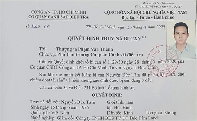 Truy nã bị can Nguyễn Đức Tâm, giám đốc Đức Tâm Land